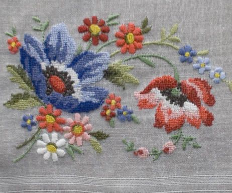 Antique Štýl: Hanky Primer # 3: Vyšívané a Petit Point vreckovky. Embroidery  ...