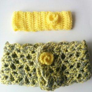 Πλεκτή κίτρινη κορδελα και κίτρινο με γκρι γιακά σετ