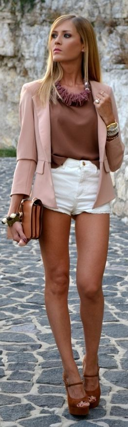 This is a great Pink Blazer.   Love the messy tuck. Kudos....