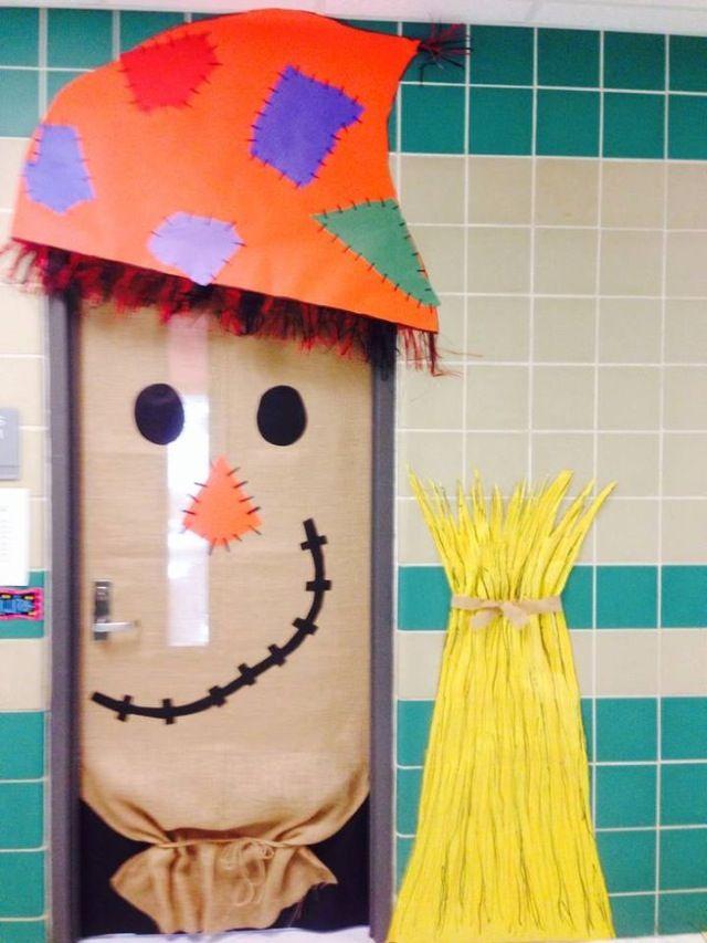 Thanksgiving Classroom Wall Decor ~ Halloween fall scarecrow door teaching