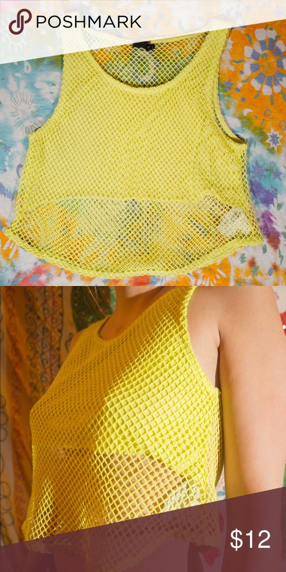 Netted neon yellow top Back is fully netted, only chest has coverage. Perfect condition. Tops Crop Tops