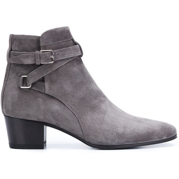 Saint Laurent Suede Chelsea Booties ($895) ❤ liked on Polyvore featuring shoes, boots, ankle booties, kirna zabete, kzloves, october must haves, suede chelsea boots, grey suede booties, gray booties and grey boots
