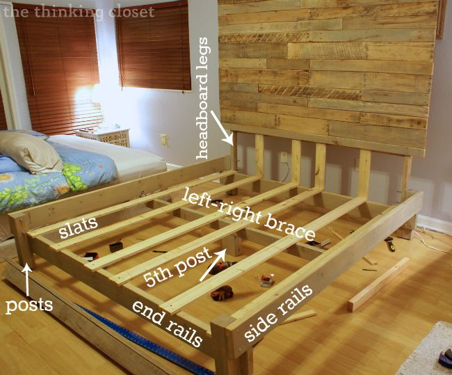 How to Build a Custom King Size Bed Frame via thinkingcloset.com