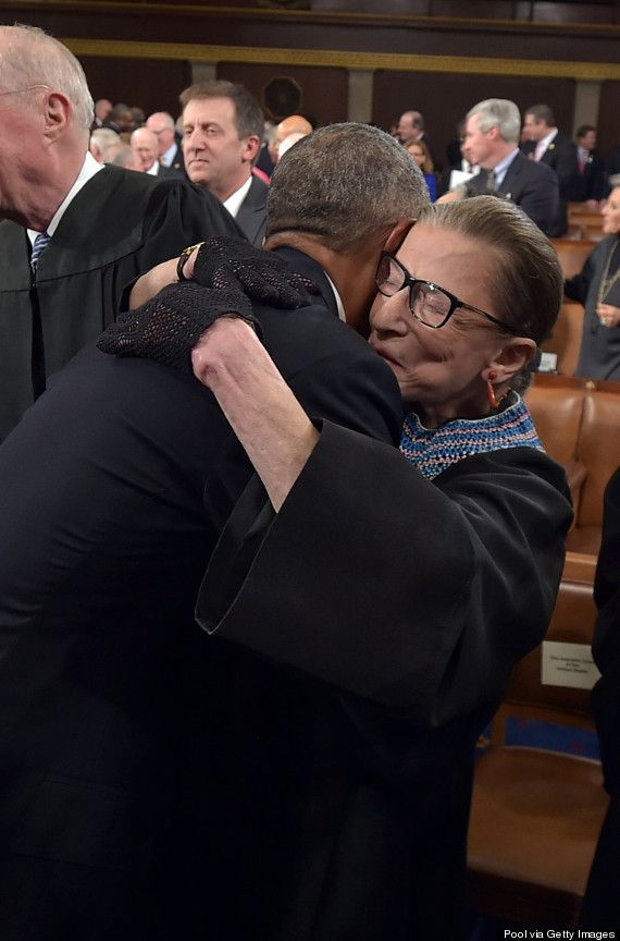 This Is The Best Hug In The History Of Liberal America.  How Touching.  Supreme Court Justice Ruth Bader Ginsburg on Tuesday, State Of The  Union Night.  [  A Great Hit. ]