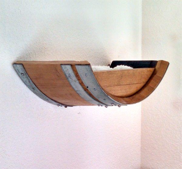Authentic Wine Barrel Cat Wall Shelf That big wood bowl!