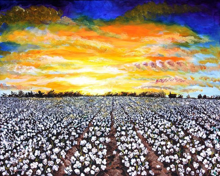 Oil Painting of a sunrise over an Indian cotton field. So beautiful.