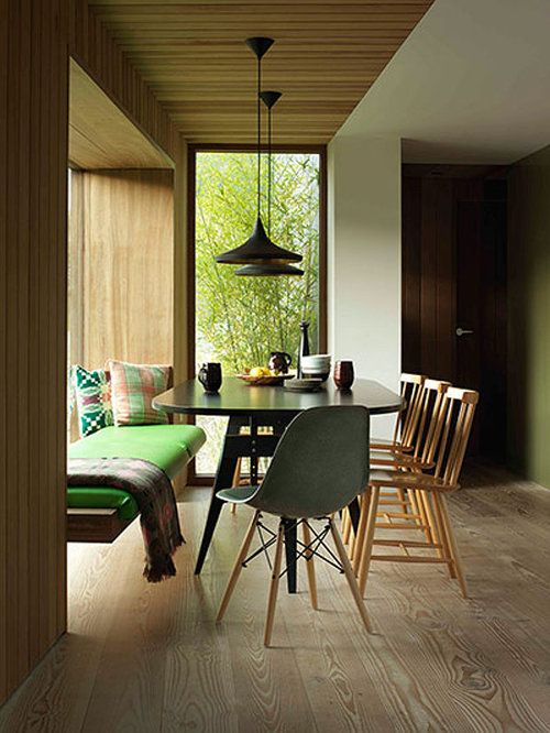 pendants + legless bench in the dining room