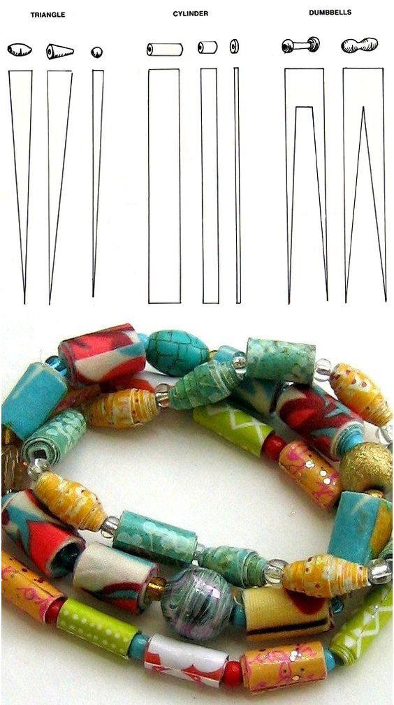 Gabarits des diverses formes à découper dans le papier pour obtenir différentes perles.: