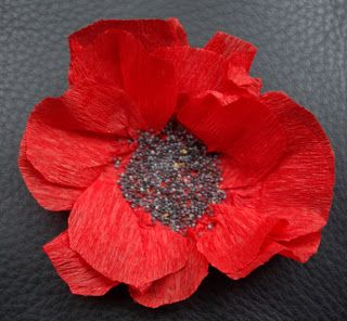 Crepe paper poppy for Remembrance Day - option to use poppy seeds to make the centre! via poppydrift