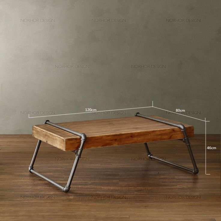American pine tea table Iron pipes boutique style long table LOFT industrial metal pipes coffee table dining table