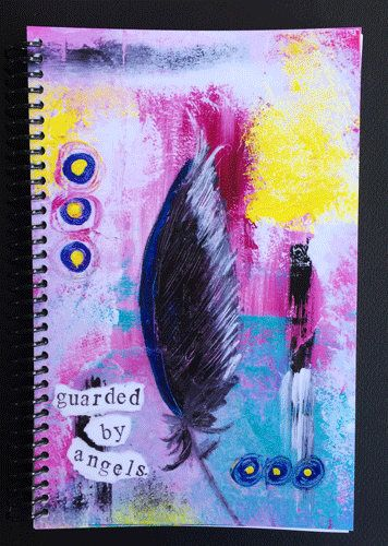"""Guarded by Angels 5.5""""x8.5"""" Lined Paper Notebook, Journal, Coil Bound Notebook, Stationery, Wholesale Notebooks by KathleenTennant on Etsy https://www.etsy.com/ca/listing/537756120/guarded-by-angels-55x85-lined-paper"""