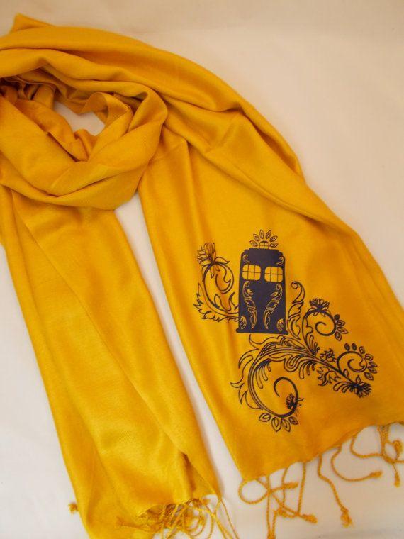 Henna Police Box Gold Pashmina Scarf. $20.00, via Etsy.- AHHHHH!!!! I want this so much!!!!Tardis Gold, Gold Pashmina, Police Boxes, Doctors Who, Henna Police, Boxes Gold, Fall Winter, Tardis Scarf, Pashmina Scarf