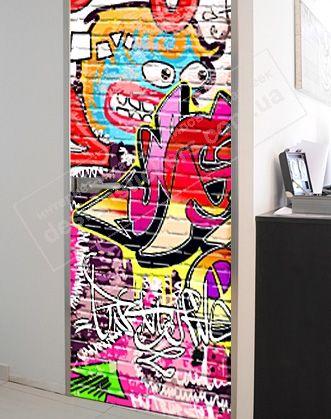 виниловая наклейка на двери граффити фото, виниловая ...