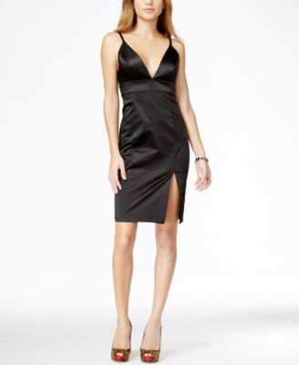 GUESS Plunging Front-Slit Satin Dress