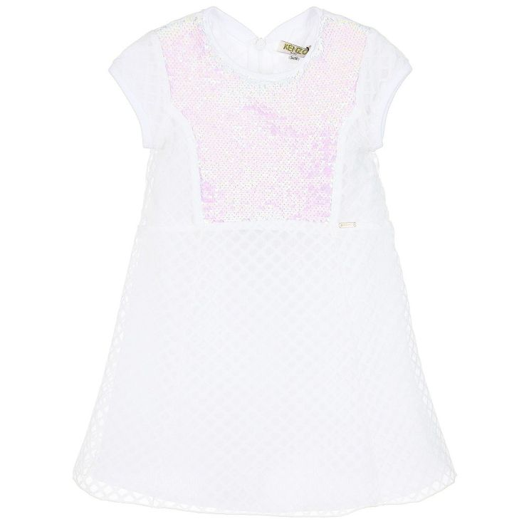 Kenzo - Girls White Dress with Sequins |