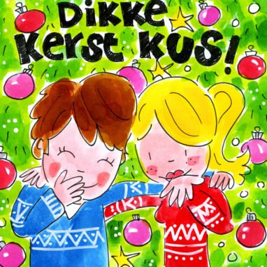 Meisje en jongen geven een dikke kerst kus- Greetz