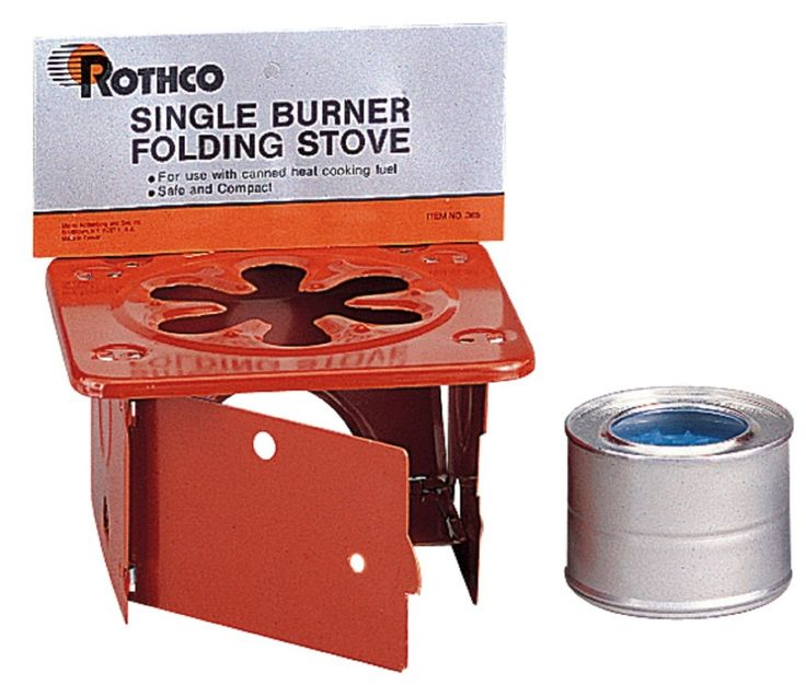 SINGLE BURNER FOLDING STOVE WITH CANNED COOKING FUEL - Compact and Lightweight - Stove Face Folds Open for Canned Cooking Fuel (Included) - 8 oz Canned Fuel burns for 2.5 Hours per Can (1 Can Included