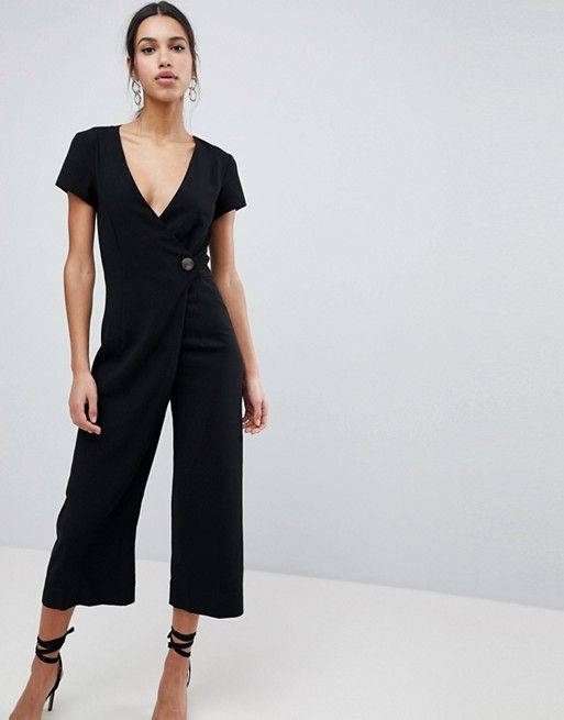 ebe637561bbc DESIGN Wrap Jumpsuit with Horn Button and Culotte Leg