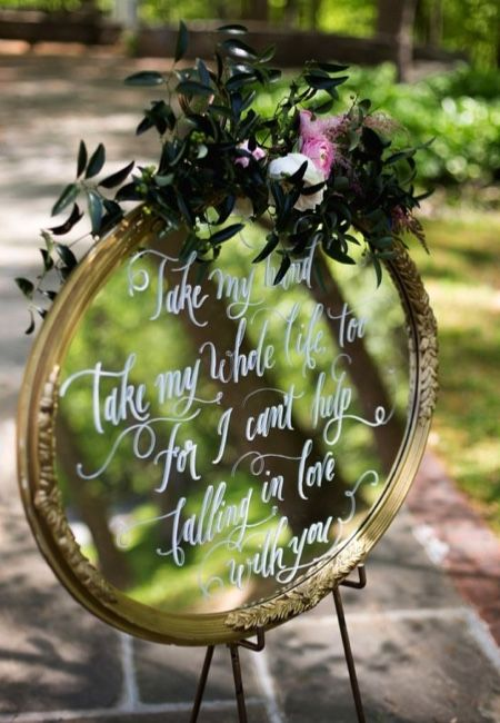 Share the love at your wedding by incorporating romantic quotes into your styling – these can be written on large mirrors for a fairy tale finish. Image: Pinterest