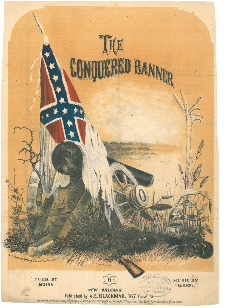 """The Conquered Banner sheet music. The June 24, 1865 issue of the New York Freeman's Journal and Catholic Register featured a poem by """"Moina"""" entitled """"The Conquered Banner."""" Capturing the mourning resignation of the Confederate South after Appomattox, the poem became an instant classic and was set to music and published in song form before the year was out. October 2015 Documents of the Month 