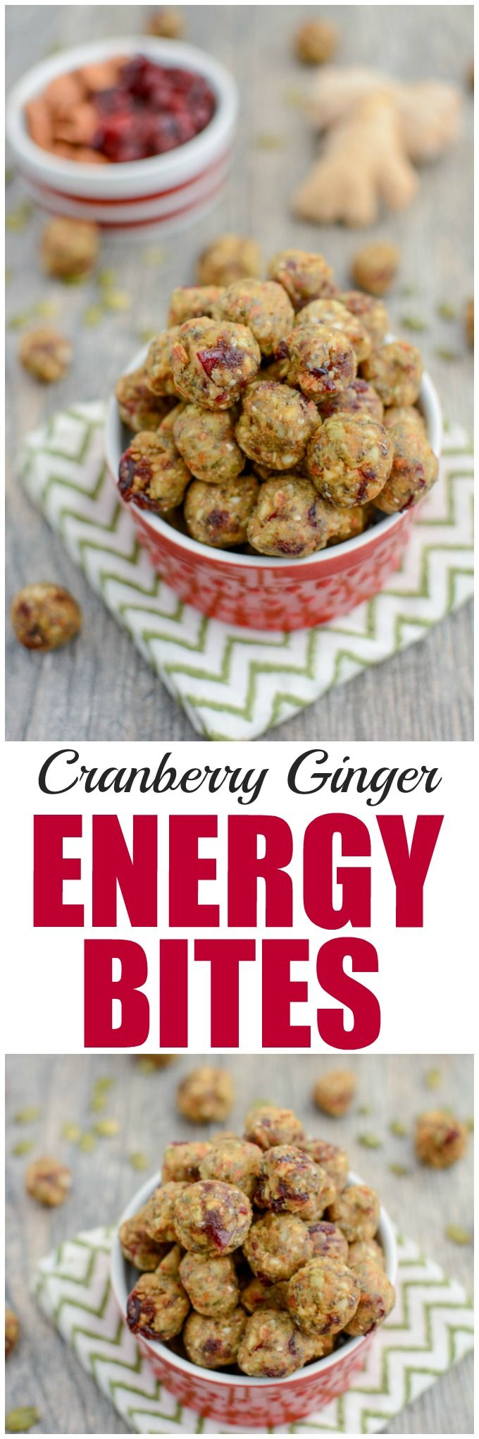 (AD) These Cranberry Ginger Energy Bites are the perfect healthy snack to power you through until lunch or dinner! Make them mini and enjoy a few when you need an energy boost!