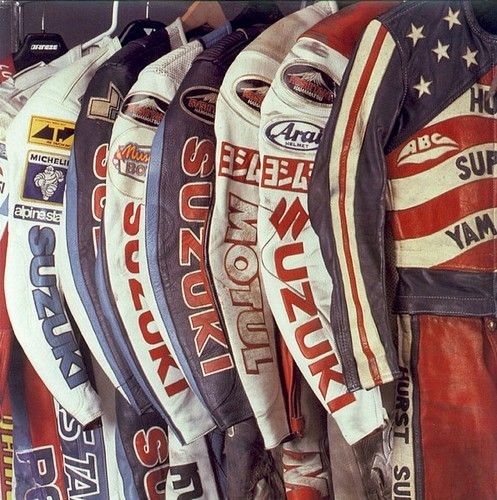 vintage racing leathers...reminds me of Manx Kushitani when I lived next door in Laxey...handy for repairs!