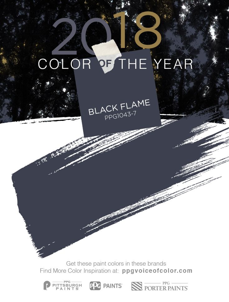 This upcoming year, dress your home in the new neutral: the PPG PAINTS™ brand's 2018 Color of the Year, Black Flame (PPG1043-7). Our PPG color experts predict this statement-making black, infused with an undertone of the deepest navy, evokes the privacy, hope and classic modernism that many consumers crave today. Embodying the spirit of a tailored tuxedo or a little black dress, it is dressed-up, coveted, unapologetic and – most importantly – timeless.