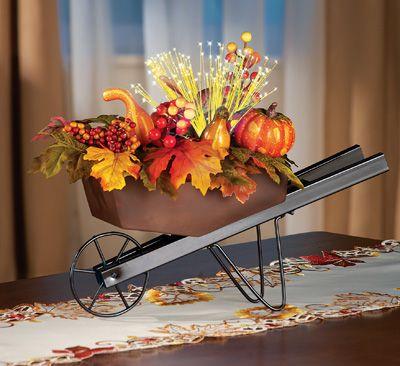 Fiber Optic Lighted Harvest Floral Wheelbarrow Decoration