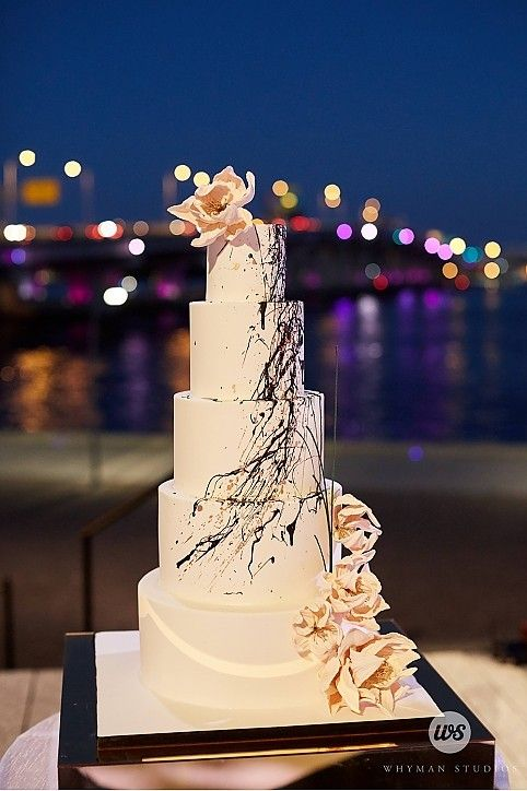 5 Tier Modern Cake Black White Blush Splatter Design | Event Planning & Design: tracytaylordesign... | Photographer: whymanstudios.com | Venue: Perez Art Museum