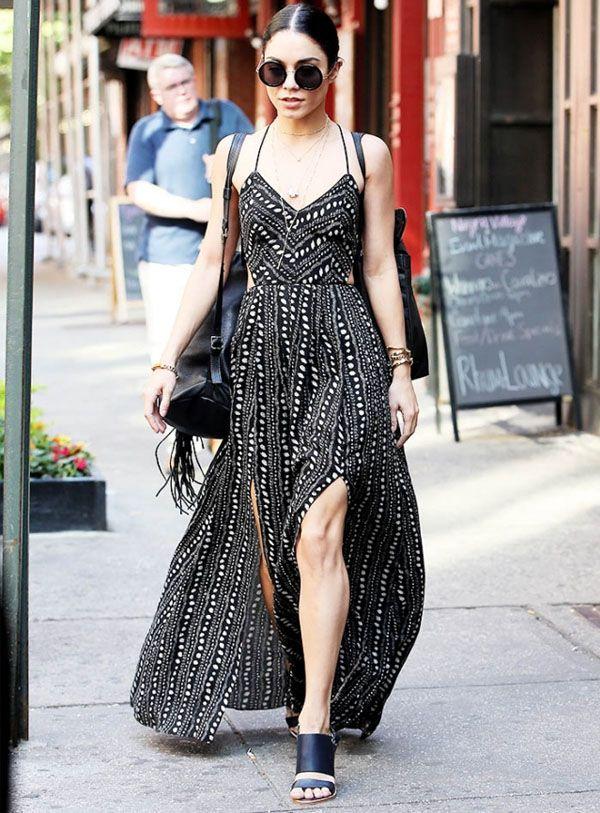 Vanessa Hudgens com o vestido que todas as mais antenadas têm e usam muito.