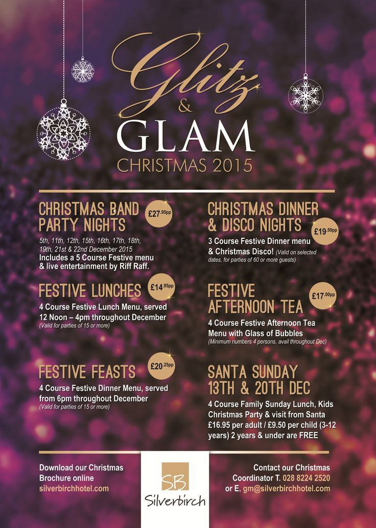 The Silverbirchhotel's Glitz & Glam Christmas Events!   Download the Christmas Brochure at www.silverbirchhotel.com