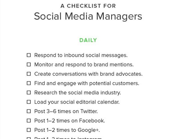 Checklist for social media managers. (Source: SproutSocial)