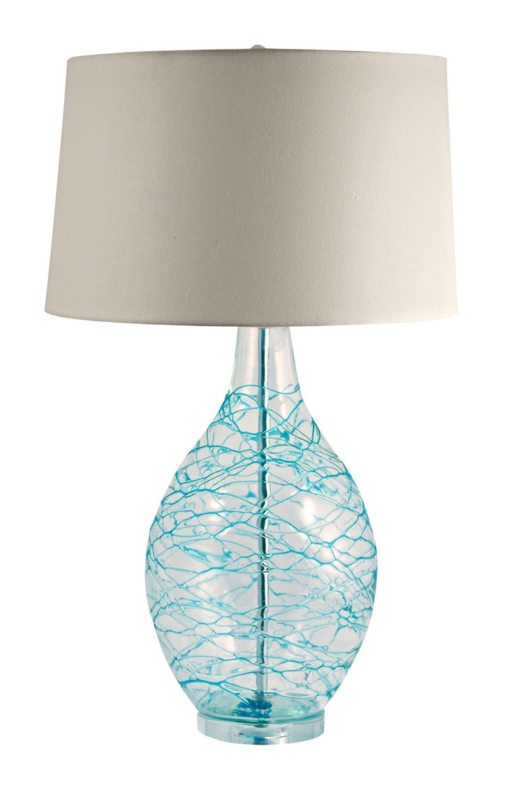Cottage lighthouse lamp 3 colors - Cottage Lamps Glass Hand Applied Coils On Clear Glass Lamp Blue