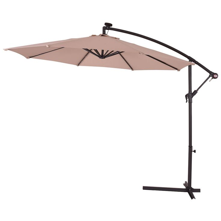 10' Patio Hanging Umbrella Sun Shade with Solar LED Lights