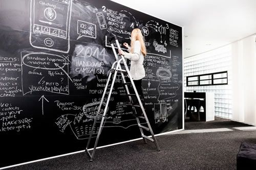Rooms: Black & White Office Design. Loving The Blackboard