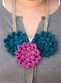 Shimmery Flowers Necklace Crochet Pattern