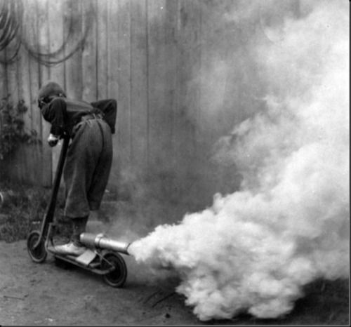 """atomic-flash:  """"Rocket Scoot (?) - This photo is often credited to French independent photographer Charles Chusseau-Flaviens and dated 1931, but Chusseau-Flaviens' career spanned the years 1890s - 1910s and it could not be located in either the George..."""