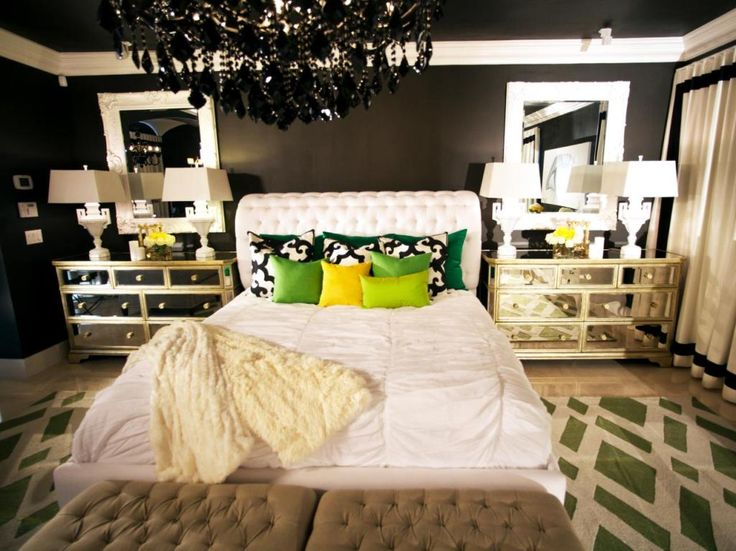 Eclectic Theme Bedroom A Black And White Palette, The Perfect Contrast,  Creates A Dramatic And Glamorous Bedroom Retreat. Accents Of Green And  Yellow Keep ... Part 44