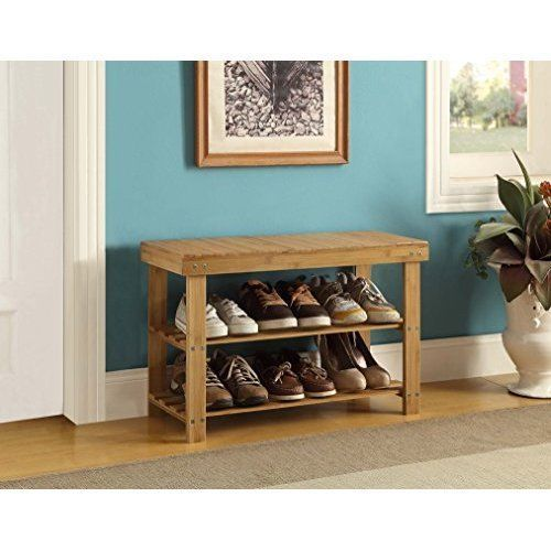 Shoes Rack Organizer Storage Furniture 3Tier Natural Bamboo Bench Floor Wood New #ShoesRackOrganizerStorageFurniture