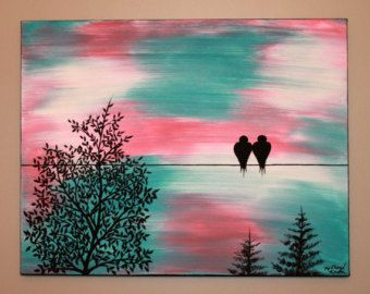 """Original Abstract Acrylic Painting Canvas Time Stands Still Love Birds On Wire Trees Teal Coral Ivory Sky Black Silhouette 14 x 18"""""""