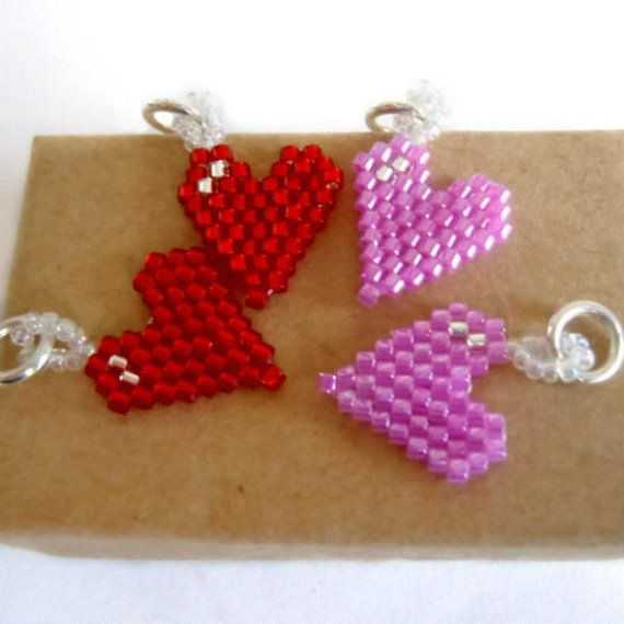 Red / Pink Valentine's Day Seed Bead Heart Charms - Brick Stitch Bead Weaving