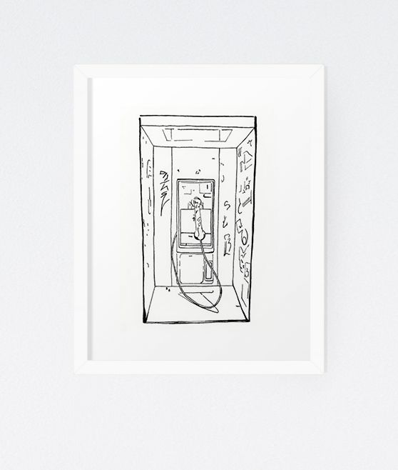 The Phone Booth - Original Pen & Ink Drawing by Michelle Waldie