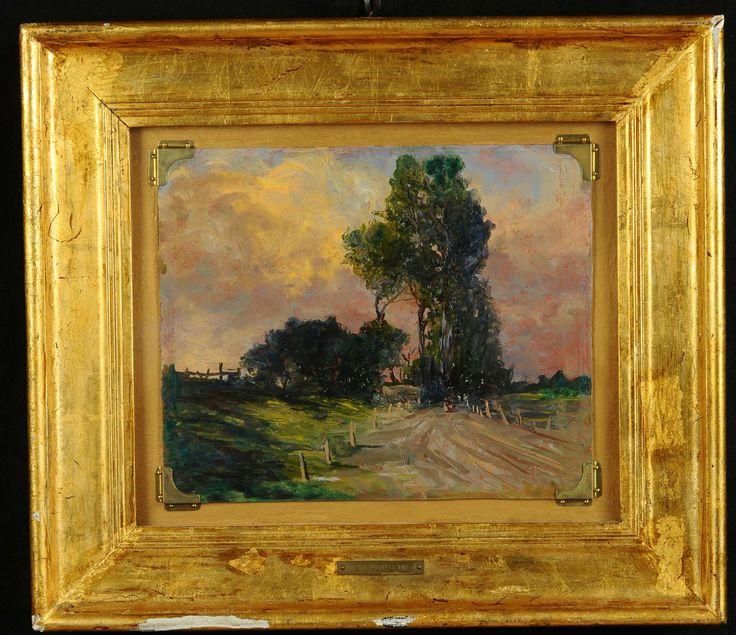 Guglielmo Baldassini (1885-1952) Strade di campagna olio su cartone, cm 24x29, siglato in basso a destra, firmato e titolato al retro