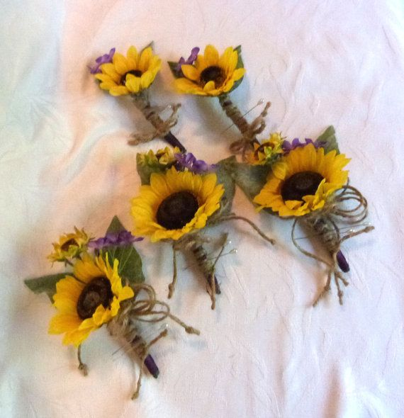 Sunflower wedding Country wedding 4 piece Sunflower Bouquet set twine wrap shabby chic bouquet • Bridal bouquet - Silk sunflowers, purple lilac and wild flowers were used to make this vibrant bouquet that would be perfect for your country or outdoor wedding. Stems were wrapped with plum ribbon with burlap wrap secured with pearl pins and rustic twine wrap tied in a bow around the bottom. Bouquet is 9 inches wide and 13 inches tall.  • Groom and groomsmen boutonnieres – Yellow sunflower with…
