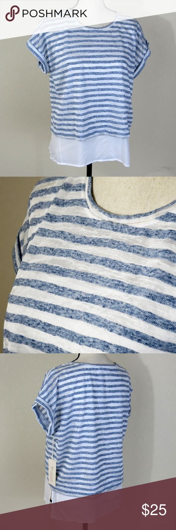 Two by Vince Camuto Blue Stripe Shirt Size S NWT Blue and white striped shirt with short sleeves with cuffs and a scoop neck, attached white tank under the shirt, from the top of the shoulder to the bottom of the shirt is about 20 inches, from the top of the shoulder to the bottom of the tank is about 24 inches, sleeve length is about 5 inches, chest measurement is about 44 inches, chest measurement for the tank is about 36 inches, NWT This shirt has the manufacture's tag but not the store…