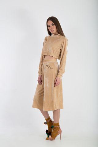 velvet wide leg zip culottes