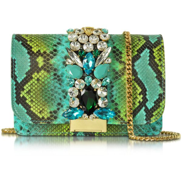 Gedebe Designer Handbags Clicky Turquoise and Green Python Leather... (£520) ❤ liked on Polyvore featuring bags, handbags, clutches, leather clutches, turquoise purse, leather flap handbags, man bag and turquoise handbags