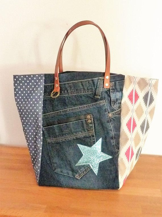 Patchwork Rose Jean Recyclépois Bag Cabas Sac Bleuethnique Hx5qXTy6w