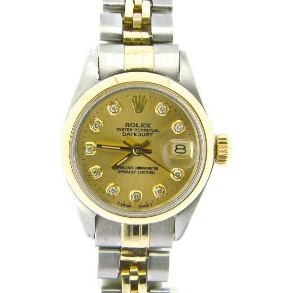 Pre-owned Rolex Datejust 6917 Two Tone 14K Yellow Gold & Stainless... ($2,799) ❤ liked on Polyvore featuring jewelry, watches, round watches, rolex watches, automatic movement watches, pre owned vintage watches and pre owned watches