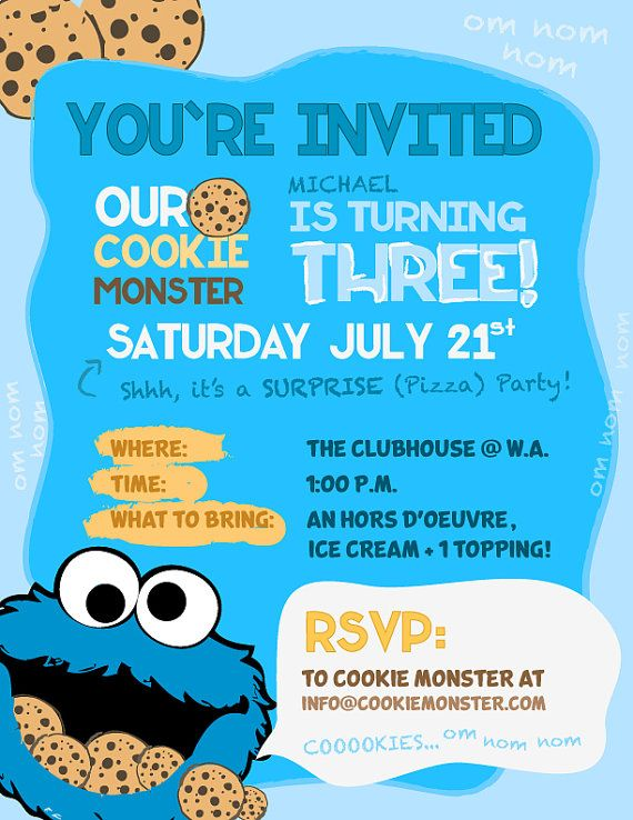 Cookie Monster Party Invitations by DCStudios on Etsy, $15.00. mmmm cookies...